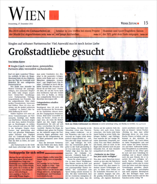 """Wiener Zeitung: """"Großstadtliebe"""""""