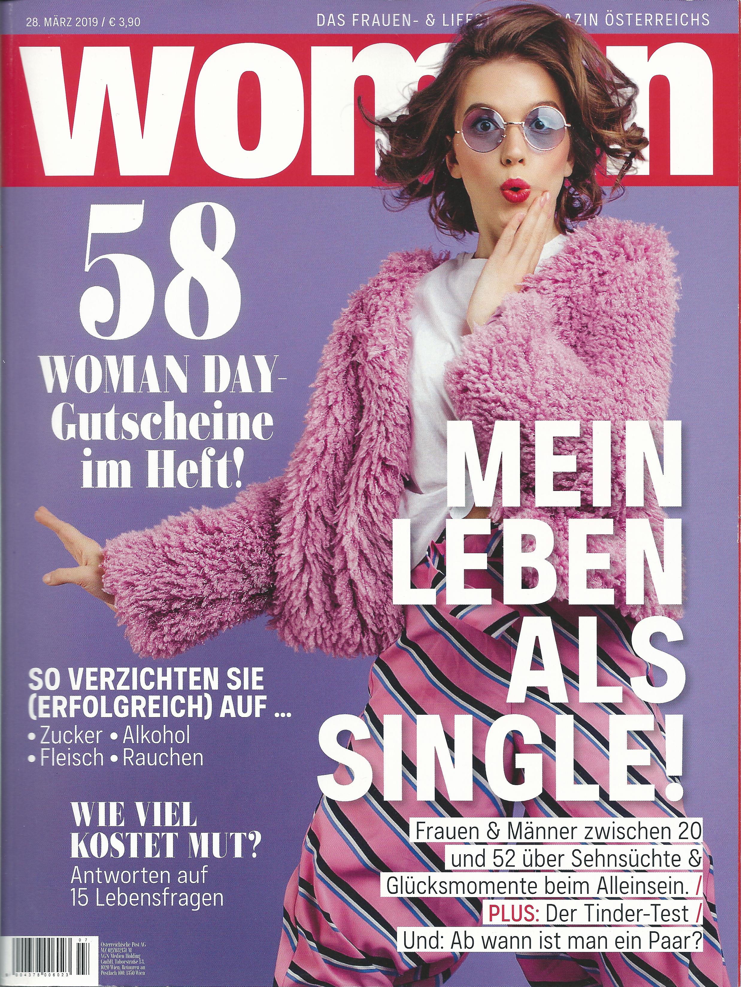 Eva Fischer: Singleexpertin in der Titelstory der Woman